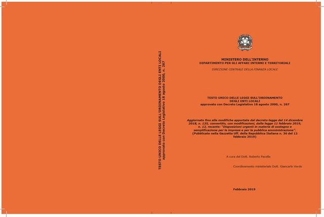 MINISTERO INTERNO- Testo Unico degli Enti Locali: online la versione aggiornata