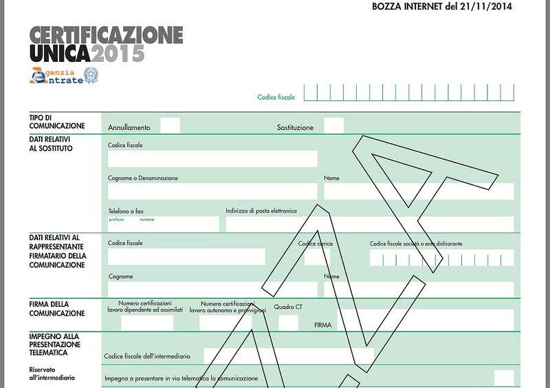 Qpa certificazione unica 2015 online l 39 aggiornamento del modello istruzioni e specifiche - Certificazione lavoro autonomo provvigioni e redditi diversi causale a ...