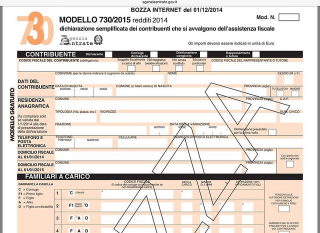 Qpa pubblicata la bozza del modello 730 2015 e relative for Causale bonifico ristrutturazione 2017